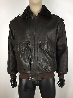 G.F. CAPPOTTO di PELLE VINTAGE MADE IN ITALY AVIATOR FLIGHT Giacca Tg XL Uomo
