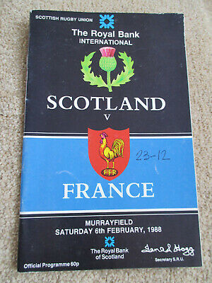 Scotland v france 6th February 1988 Rugby programme