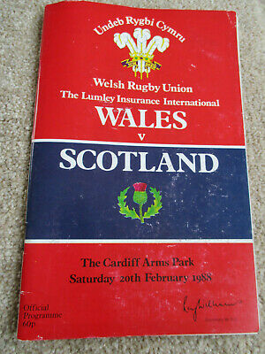 Welsh Rugby Union programme Wales vs Scotland 20th february 1988