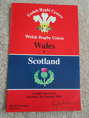 Welsh Rugby Union Wales v Scotland 21st January 1984 Programme + ticket