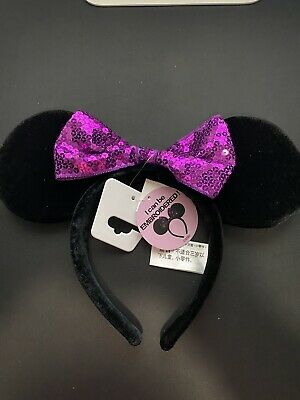 Disney Parks Purple Sequin bow Minnie Mouse Headband Ears - NWT Authentic