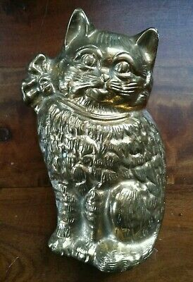 "Antique SOLID Brass Cat With Bow Door KNOCKER 6"" x 3"""