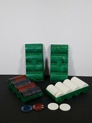 Vintage Bakelite Poker Chip Set w/ Caddy Rack Case Holder Red White Blue Pieces