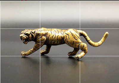 Pure Copper Zodiac Animal Siberian Tiger Figurine Ornaments Solid Brass Lucky