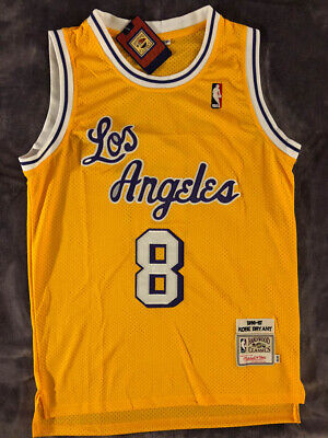 Vintage #8 Kobe Bryant Los Angeles Lakers Hardwood Classics Yellow Men's Jersey