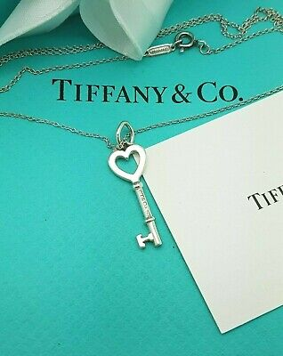 Tiffany & Co Sterling Silver Open Heart Key 18 Inches Chain Necklace