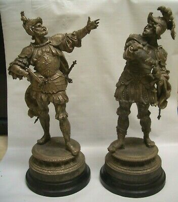 """Antique a Pair of Ansonia Statues """"Insult and Provocation"""""""