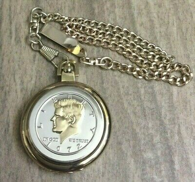 Men's Pocket Watch Quartz Two Tone Liberty 1972 Coin Case Gold Dial Easy Reader!