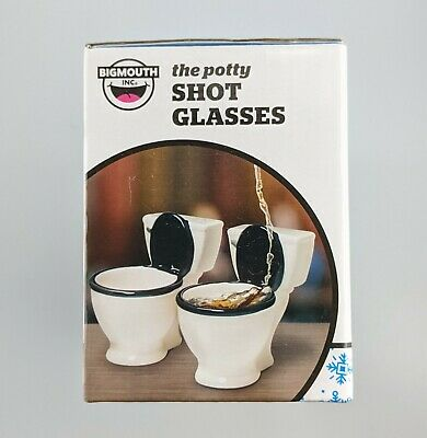 Big Mouth The Potty Shot Glasses Set Of 2 Toilets White Black Gag Gift