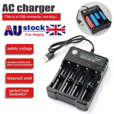 New 4 Slots Smart USB 18650 Battery Charger for 3.7V Rechargeable Battery AU