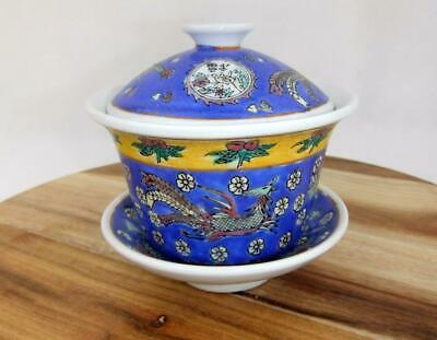 Vintage Hand Painted Chinese Tea Cup Lid Stand Gaiwan Porcelain Dragon Blue RARE