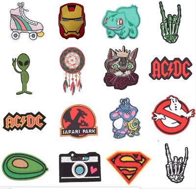 Iron on embroidery patch Jurrasic Park, Ghostbuster, AC/DC, Skeleton, Monster
