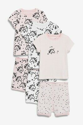 BNWT Next Girls 4-5 Years 3 Pack Pink Unicorn Short Pyjamas