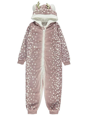 Girls Dusty Pink Reindeer Fleece Hooded Onesie 3 to 10 Years BNWT