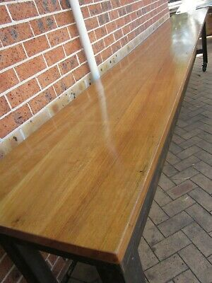 Large 4.25M Solid Timber Hardwood Restaurant Cafe Bar Industrial Table Freight