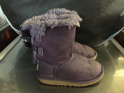 UGG Girls Purple Boots Bailey Bow Infant Kids UK Size 9