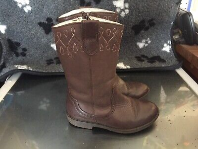 Clarks Girls Brown Leather Boots UK Infant Size 7.5 F