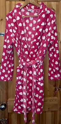 Size 16 Dressing Gown Soft Fluffy Hearts Christmas Cosy Luxe Nightwear Hot Pink