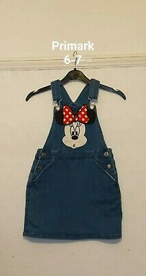 Primark Girls Minnie Mouse Denim Pinafore Dress  Age 6-7 Years. Next day post