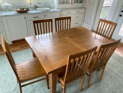 CRATE & BARREL French Farmhouse Solid Oak Dining Table and ...