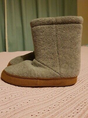 Boys Lands End Slipper Boots Grey Fleece With Soles Size 11 Infant