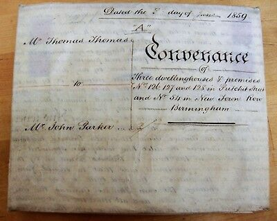 INDENTURE: 1859 Conveyance of Three Dwellings on Vellum