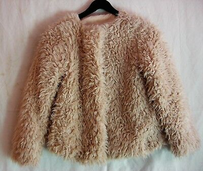 Peacocks 'Miss Evie' Faux Fur Child's Lined Jacket in Cream, 9-10 years