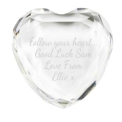 Glass Heart Crystal Paperweight - Custom Engraved