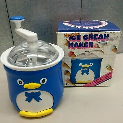 Donvier Chilly Penguin No Electricity HAND CRANK one pint Ice Cream Maker BLUE