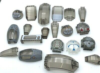 LEGO LOT OF 12 TRANSPARENT GREY WINDSHIELD PIECES STAR WARS SPACE SHIP PARTS