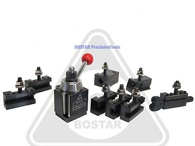 "BOSTAR AXA 250-111 Wedge Type Tool Post for Lathe 6 - 12""  with 8PC Tool Holders"