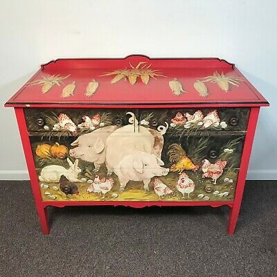Roy Egg Folk Art Paint Decorated Antique Chest of Drawer Farm Scene Pigs & Chick