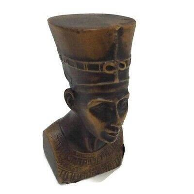 Ancient Egyptian Decorative Small Nefertiti Basalt Pharaoh Figurine Statue New