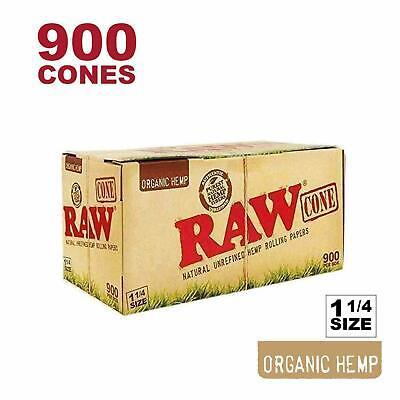 RAW 900 Organic 1 1/4 Cones - Pure Hemp 109mm Pre Rolled Direct From RAW