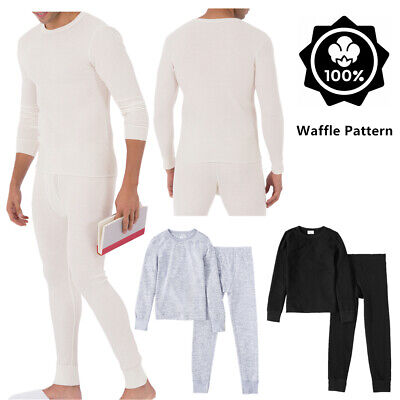 Mens 100% Cotton Top & Bottom 2PC Set Waffle Knit Thermal Long Johns Underwear