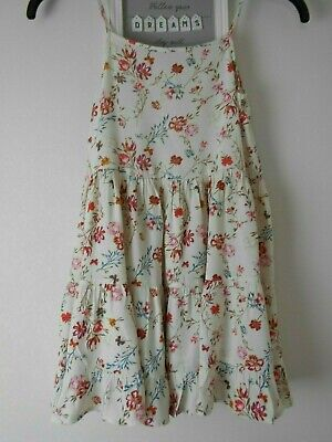 NEXT Girls Dress Age 9 134 cm Cream Pink/Red Strappy Floral Viscose Tiered