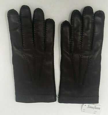 NWT Neiman Marcus Brown Leather Cashmere Lined Gloves Sz 8.5 Made in Italy New