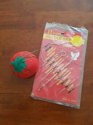 Retro Sewing Hooks/Needles & Pin Cushion