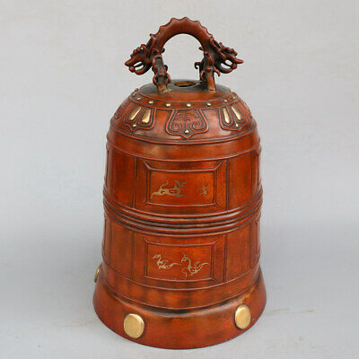 Chinese Exquisite Handmade beast copper bell statue