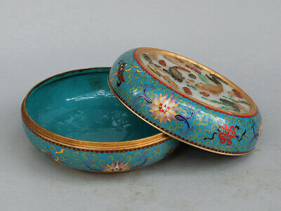 Chinese Exquisite Handmade fish copper Cloisonne mosaic shell box