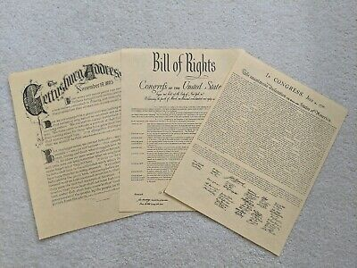 3 Antiqued Parchment Paper Bill of Rights, Gettysburg, Declaration