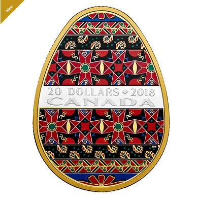 Golden Spring Pysanka - 1 oz. Pure Silver Gold-Plated Coin - Mintage: 5,000 2018