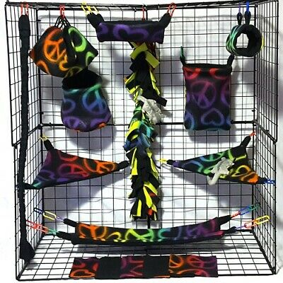 ombre peace signs/heart *15 PC Sugar Glider Cage set * Rat * double layer Fleece