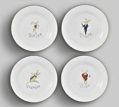 Pottery Barn Reindeer Plates_Christmas Winter Holiday_Luncheon or Salad_CHOICE