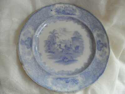 Antique Blue and White Triumphal Car Ironstone Plate