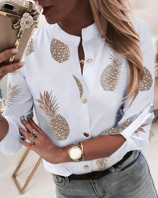 NEW Womens Ladies Casual Tops Blouse Long Sleeve Letter Printing Business Shirts