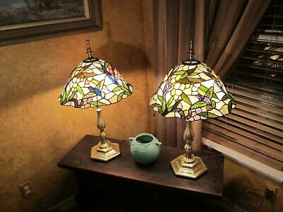 """29"""" tall 32 pounds! pair of antique hummingbirds stained glass solid brass lamps"""