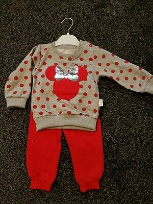 Sequins Toddler Kids Baby Girl Minnie Mouse Outfit Sets Tracksuit size 18 months