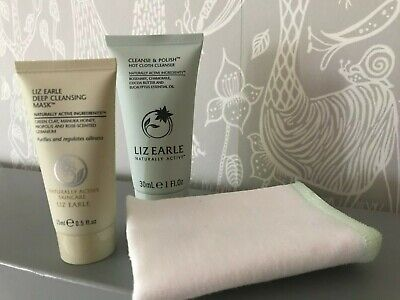 LIZ EARLE bundle x3 travel size products Cleanse & Polish + muslin face cloth