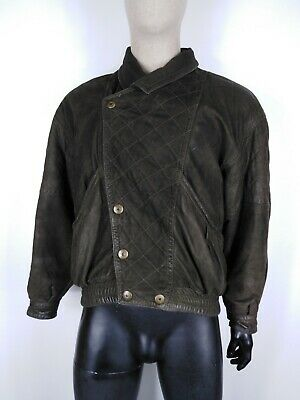 VAGLINI CAPPOTTO DI PELLE VINTAGE MADE IN ITALY Giacca Jacket Tg 54 Uomo